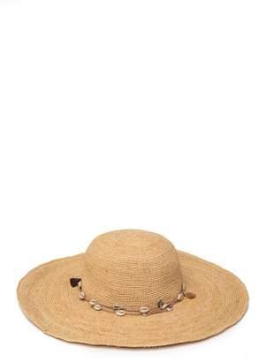 Tommy Bahama Crochet Raffia Shell Trimmed Hat