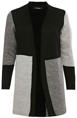 Evans Black Colour Block Cardigan