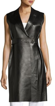 Calvin Klein Gardner Leather Long Wrap Vest, Black $3,295 thestylecure.com