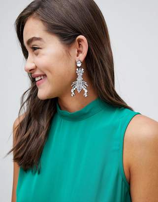 Asos DESIGN statement earrings in crystal lobster design in gunmetal