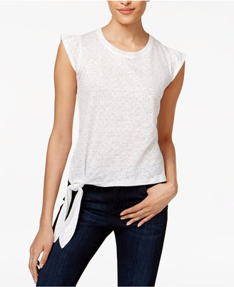 Maison Jules Linen Flutter-Sleeve Side-Tie T-Shirt, Created for Macy's $39.50 thestylecure.com