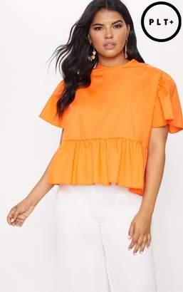 PrettyLittleThing Plus Orange Poplin Top