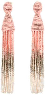 Oscar de la Renta Ombre Beaded Tassel Clip On Drop Earrings