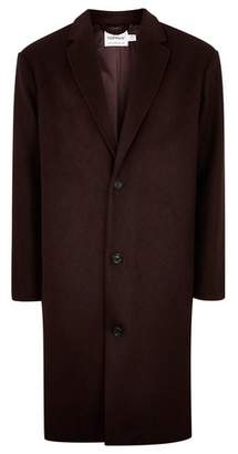 Topman Mens Red Burgundy Oversized Overcoat