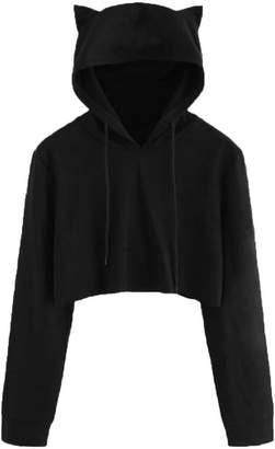 Esast Women Teen Girls Cute Cat Ear Crop Tops Hoodie Sweatshirts Pullovers L