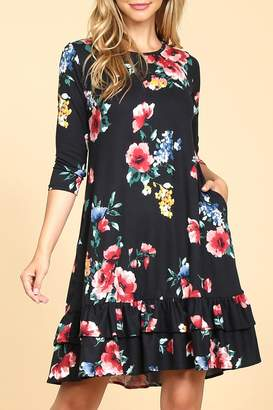 Riah Fashion Ruffled/floral Pocket Dress
