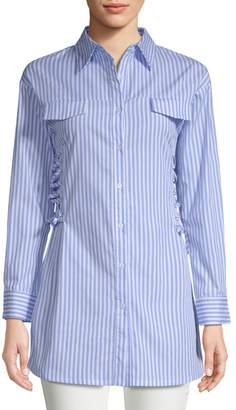 Haute Rogue Long-Line Pinstripe Collared Shirt