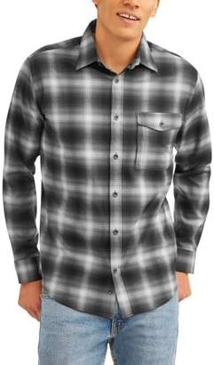 Swiss+Tech Men's and Mens Big Long Sleeve Poly Flannel Button Down shirt, up to size 5XL