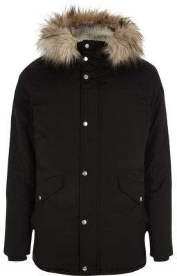 River Island Big and Tall black faux fur trim hooded parka