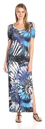 Karen Kane Women's Tie-Dye Cold Shoulder Maxi Dress