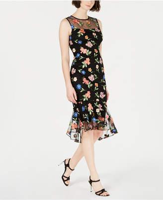 b8f1e46ba0ba Calvin Klein Embroidered Floral-Print Flounce Midi Dress