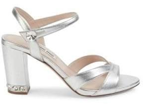 Miu Miu Metallic Leather Block-Heel Sandals