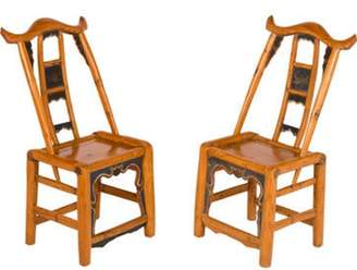 Mini A Ture Pair of Miniature Wood Chairs blue Pair of Miniature Wood Chairs