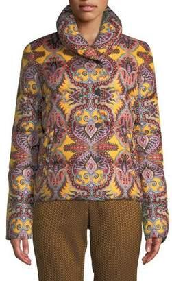 Etro Paisley-Print Snap-Front Short Puffer Jacket