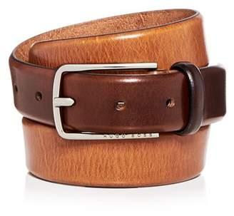 HUGO BOSS Men's Chuck 3.0 Distressed Burnished Leather Belt