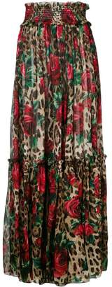 Dolce & Gabbana floral leopard print trousers