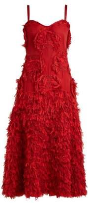 Alexander Mcqueen - Peony Fil Coupe Silk Blend Dress - Womens - Dark Red
