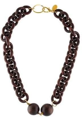 Erickson Beamon Wood Link Collar Necklace