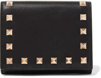 Valentino Garavani The Rockstud French Leather Wallet - Black