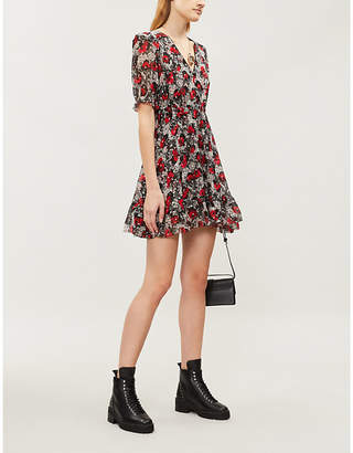 The Kooples Floral and lace-print silk-blend mini dress