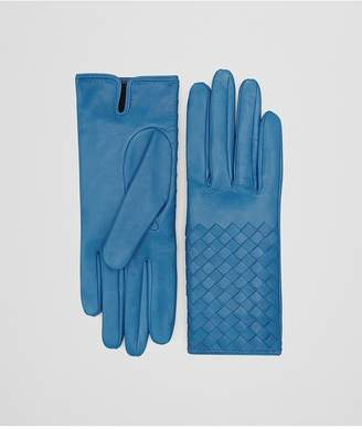 Bottega Veneta Glove In Peacock Nappa, Intrecciato Details