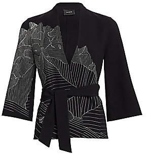 Akris Women's Mountain Print Embroidered Kimono Jacket