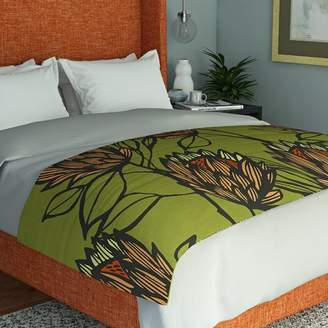East Urban Home Gill Eggleston Protea Olive Flowers Bed Runner