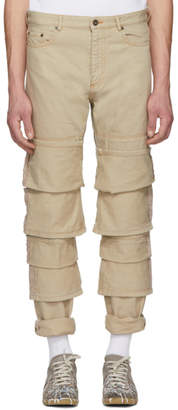 Y/Project Beige Triple Cuff Jeans