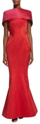 Zac Posen Off-The-Shoulder Colorblock Gown, Fuchsia/Hibiscus $4,990 thestylecure.com