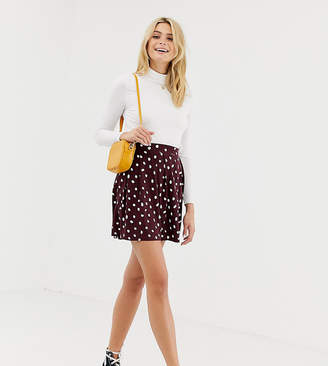 Asos DESIGN Tall mini skirt with box pleats in burgundy polka dot