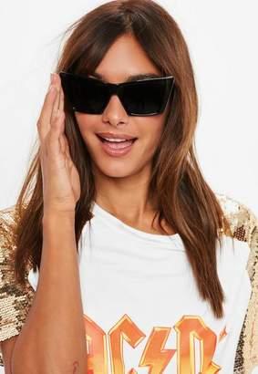 Missguided Black Angular Frame Sunglasses