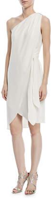 Halston One-Shoulder Tie-Waist Cocktail Dress