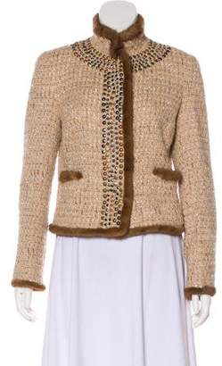 Blumarine Mink Fur-Trimmed Tweed Jacket