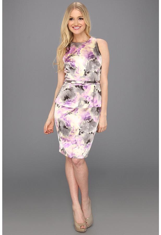 London Times Razor Back Printed Peplum Dress (Lilac) - Apparel