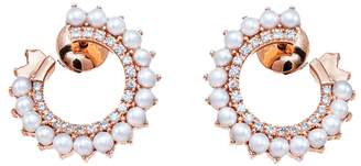 Vendome Aoyama Nouvel Heritage Pearl and Diamond Hoop Earrings - Rose Gold