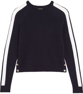J.Crew - Zoinks Striped Cashmere Sweater - Midnight blue $325 thestylecure.com