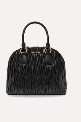 Miu Miu Medium Matelassé Leather Tote - Black