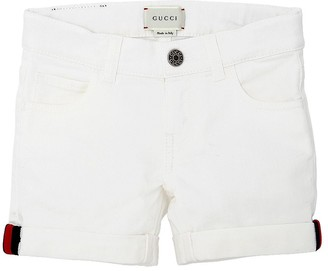 Gucci Stretch Denim Shorts W/ Web Knit Detail