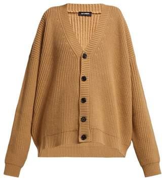 Raf Simons Logo Patch Wool Cardigan - Womens - Brown Multi