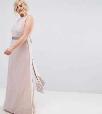 TFNC Plus Sateen Bow Back Maxi Bridesmaid Dress