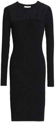 MICHAEL Michael Kors Lace-Paneled Ribbed-Knit Dress