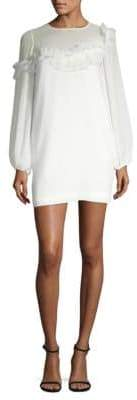 BCBGMAXAZRIA Long-Sleeve Ruffle Shift Dress