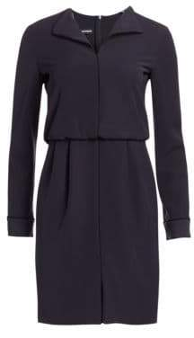Emporio Armani Long-Sleeve Contrast Piping Shift Dress