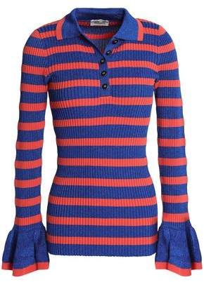 Baum und Pferdgarten Metallic Striped Ribbed-Knit Sweater