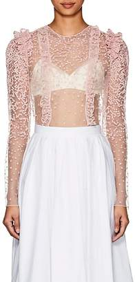 Laura Garcia Collection Women's Agnes Embroidered Tulle Crop Top