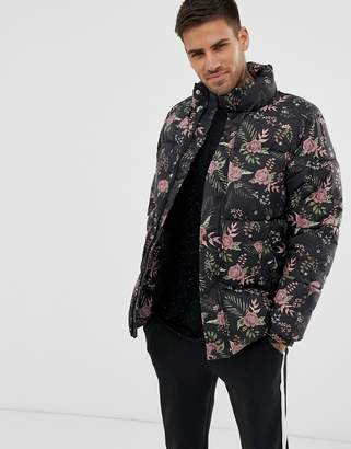 Pull&Bear puffer jacket in black floral print