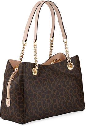 Iconic American Designer Monogram Chain-Strap Satchel Bag