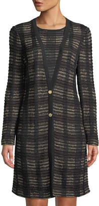 Misook Plaid 2-Button Long Knit Jacket