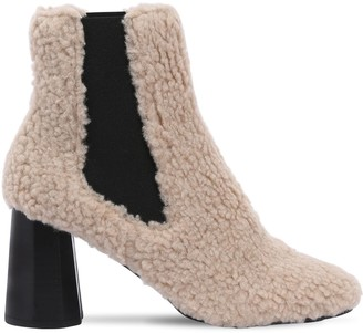 80mm Furry Faux Shearling Ankle Boots