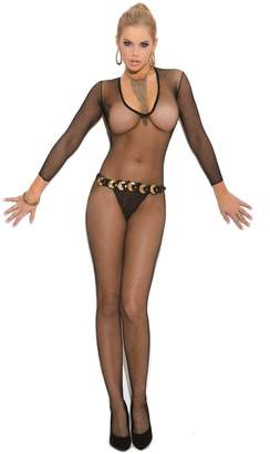 Elegant Moments Women's Deep V Fishnet Bodystocking with Open Crotch